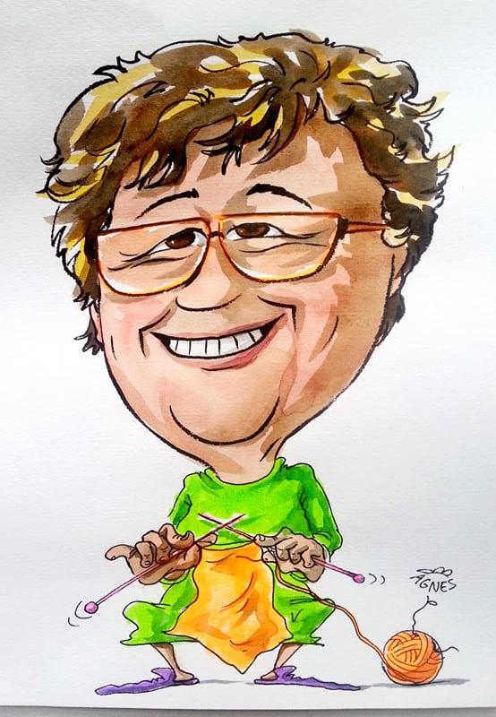 Frau Brille Hobby Stricken Lismen Wolle Nadeln lustig witzig Karikatur ab Foto